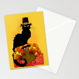 Thanksgiving Le Chat Noir With Turkey Pilgrim Stationery Cards