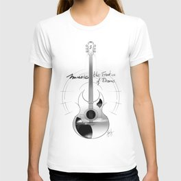 The acoustic guitar - Music, The Frontier of Dreams. T-shirt