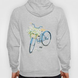 Vintage Blue Bicycle with Camomile Flowers Hoody