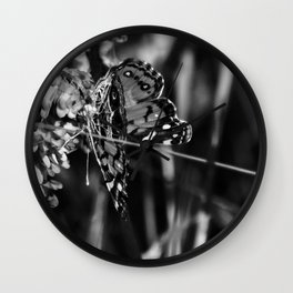 American Lady Butterfly in Black and White Wall Clock