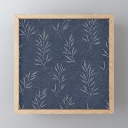 Floral Leaves Pattern, Faux Linen, Navy Blue Framed Mini Art Print
