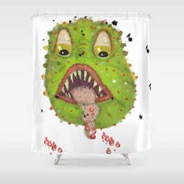 green monster with flies comic horror Shower Curtain
