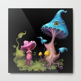Magic mushrooms - Black Metal Print