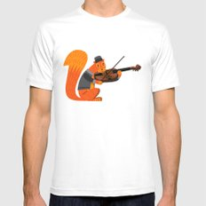 Red Squirrel Serenade MEDIUM White Mens Fitted Tee