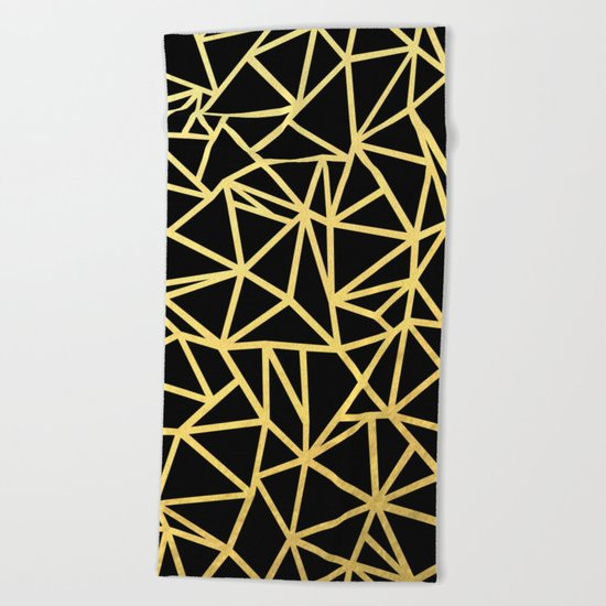 Abstract Outline Thick Gold Beach Towel