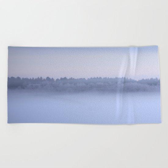 Foggy Blue Hour Beach Towel