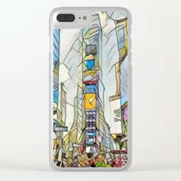 NYC Life in Times Square Clear iPhone Case