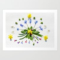 Spring flowers and branches II Art Print