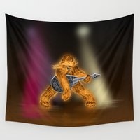 chewbacca Wall Tapestries featuring Chewbacca Rock Star by Dagui Pierro