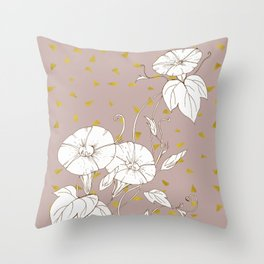 Morning Glory in Gold Throw Pillow