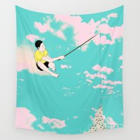 fishing Wall Tapestries featuring NO FISHING by RUEI