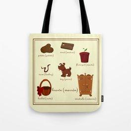 Colors: brown (Los colores: marrón) Tote Bag