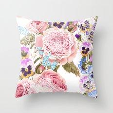 Spring flowers with mandalas Throw Pillow