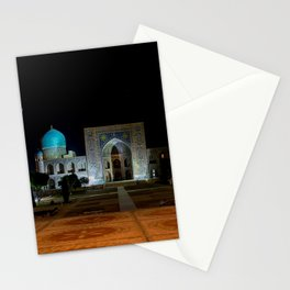 Registan square at night - Samarkand Stationery Cards