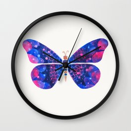 Blue pink and metallic butterfly Wall Clock