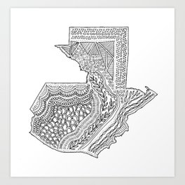 Guatemala Map Illustration Art Print