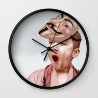 vendetta Wall Clocks featuring Robin Vendetta by Mirko Richter Grafik