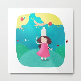 The Milkmaid and the Pot of Milk Metal Print