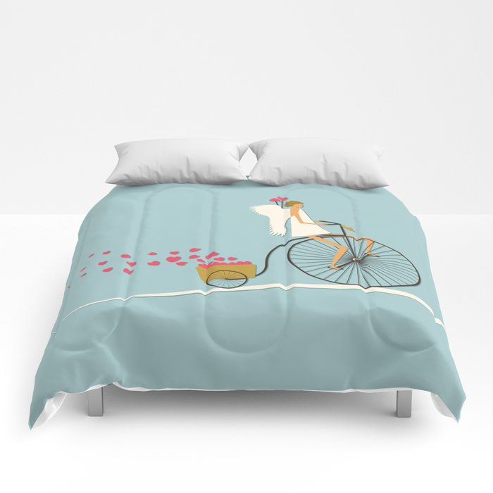 Love Delivery. Cupid on the bike, retro style design Comforters