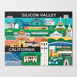Silicon Valley, California - Collage Illustration by Loose Petals Canvas Print