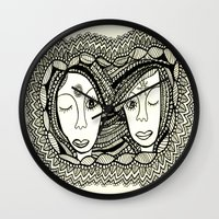 sisters Wall Clocks featuring Sisters by NazreenNizamRao