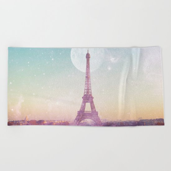 I LOVE PINK PARIS EIFFEL TOWER - Full Moon Universe Beach Towel