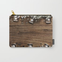 Christmas Winter Snowflakes Rustic Wooden Plank Carry-All Pouch
