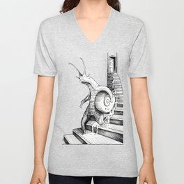 SNAIL WALKING DOWN THE STAIRS Unisex V-Neck