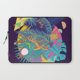 Running cheetah with tropical fruits and leaves design Laptop Sleeve