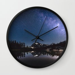 Summer Stars - Galaxy Mountain Reflection - Nature Photography Wall Clock