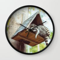 racoon Wall Clocks featuring racoon by Kalbsroulade