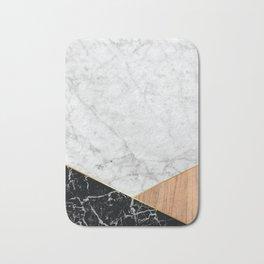 White Marble - Black Granite & Wood #711 Bath Mat