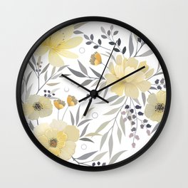 Modern, Floral Prints, Yellow, Gray and White Wall Clock