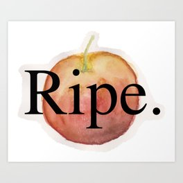 "Watercolor Apple ""Ripe."" (Black) Art Print"
