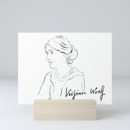 Virginia Woolf Portrait with Signature Mini Art Print