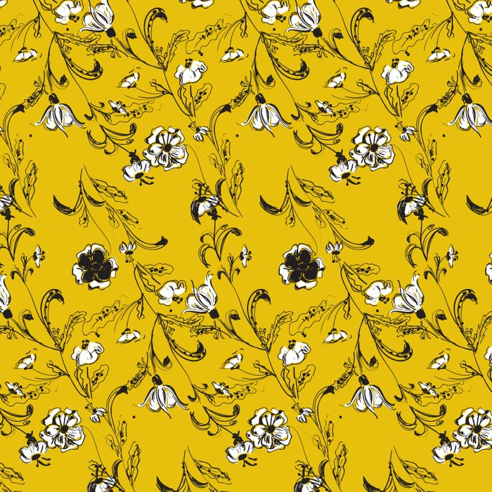 Yellow Floral Pattern Duvet Cover