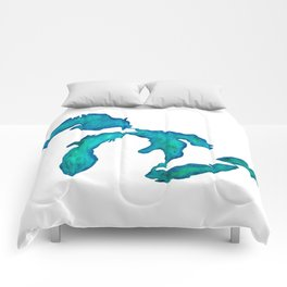 watercolor Great Lakes Comforters