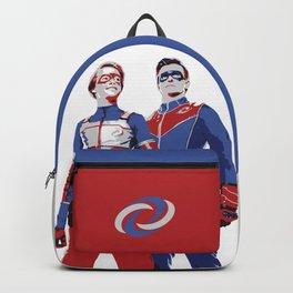 Captain Man and Kid Danger Lineart silhouette heroic Backpack