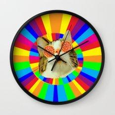 pizza loving cat Wall Clock