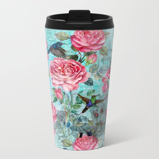 Vintage Watercolor hummingbird and English Roses on aqua Background Metal Travel Mug