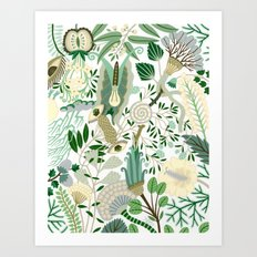 Green Flower Fantasy  Art Print