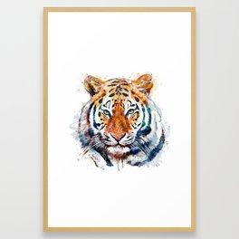 Tiger Head watercolor Framed Art Print