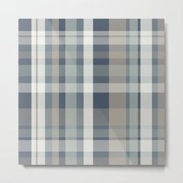 Retro Modern Plaid Pattern 2 in Neutral Blue Gray Metal Print