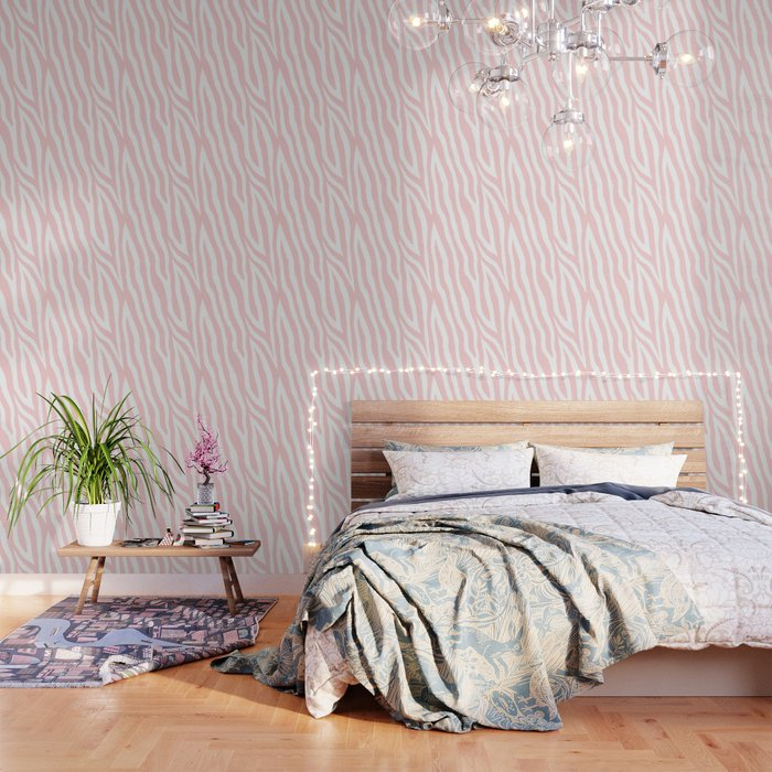 Pale pink zebra fur pattern 04 Wallpaper by innapoka