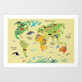 Nursery map art prints society6 animal world map art print gumiabroncs Choice Image