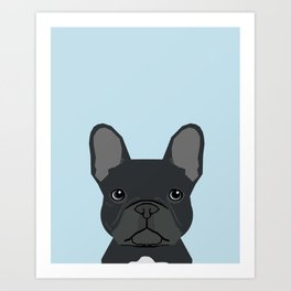 Frenchie art - french bulldog dog art dog portrait cute black french bulldog Art Print