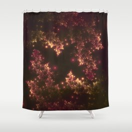 Fractal Leaves Red Glow Shower Curtain