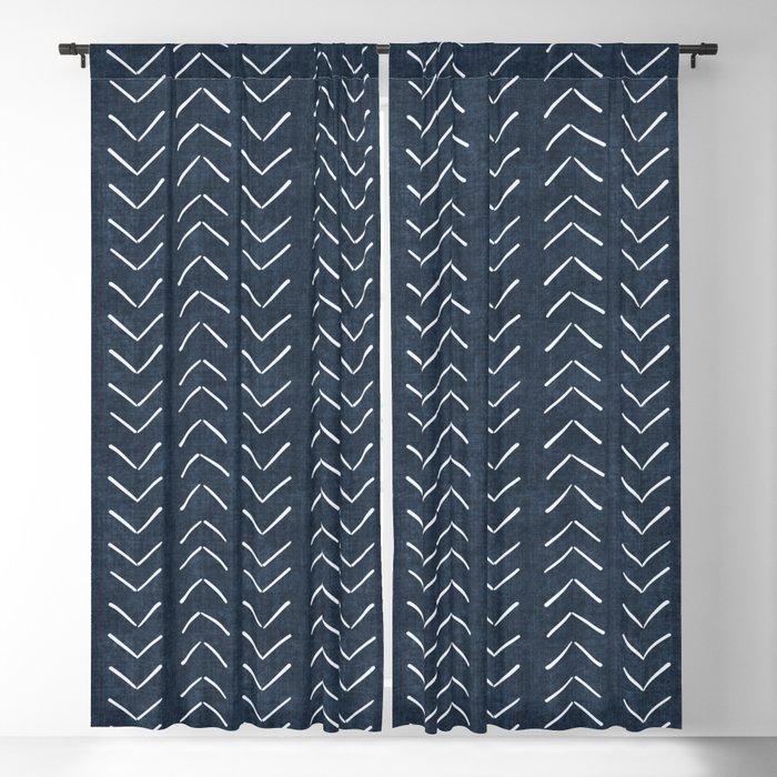 Mud Cloth Big Arrows in Navy Blackout Curtain