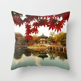 Autumn Gyeongbokgung palace, Seoul, Korea Throw Pillow