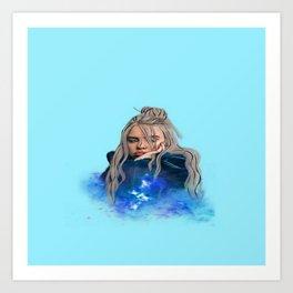 Billie Blue Portrait Elish  Art Print